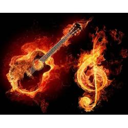 Hořící kytara a klíč
