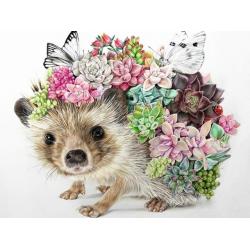Ježek s květinami